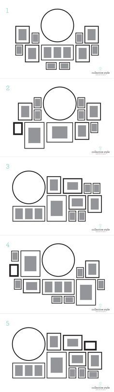 Layout for my gallery wall, I started with a large round clock.