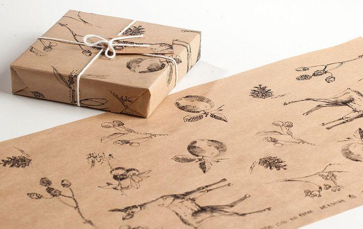 Drukowany papier pakowy - 5 różnych wzorów - StudioMiniForma - Papier prezentowy