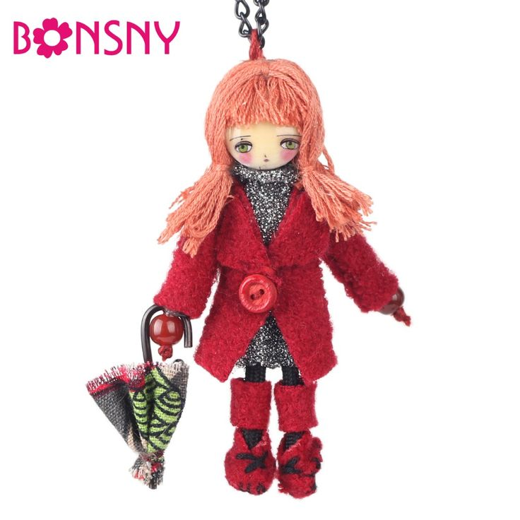 Bonsny Handmade Francese Collana Bambola Inverno Lunga Chian Collana di Dichiarazione Pendente Della Bambola 2016 Notizie Girocollo Ragazze Accessori Donna