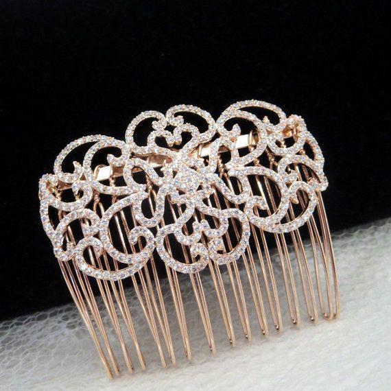 Rose Gold Hair comb Bridal Hair comb Swarovski by treasures570