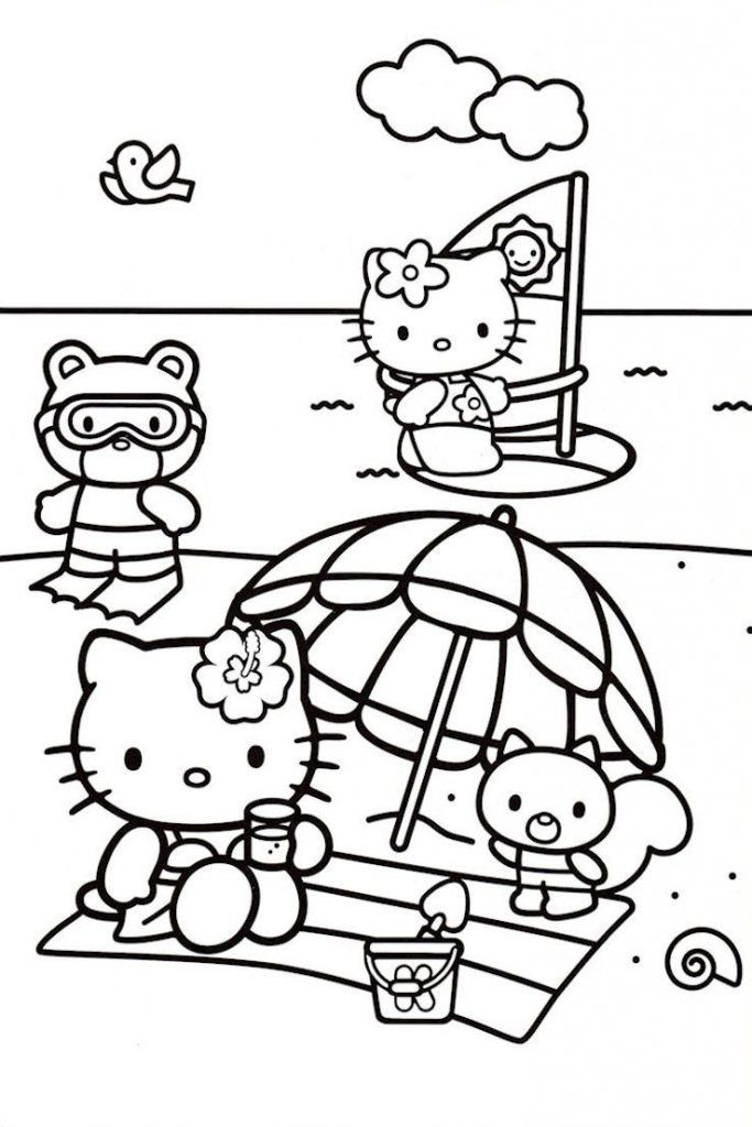 Beach Coloring Pages Beach Scenes Activities Hello Kitty Coloring Hello Kitty Drawing Kitty Coloring