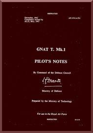 Folland Gnat T  Mk.1 Aircraft  Pilot's Notes Manual