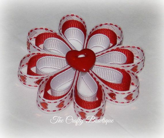 Sparkly Hearts ~ Mini Flower Hair Bow ~ Red and White ~ Small Hair Bow ~ Valentine Hair Bow ~ Clippie Bow ~ Flower Bow LIKE our Facebook page and never miss out on a GIVEAWAY, Facebook only deals and events! https://www.facebook.com/craftycreations