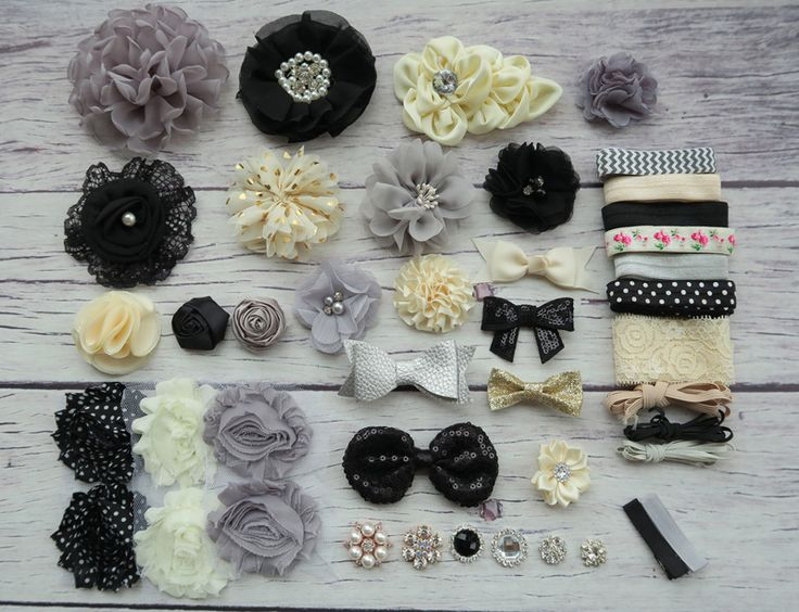 >> Click to Buy << Shower Headband Station Kit,DIY Headband Making Kit,First Birthday Party Headband Kit,Hair Bow Kit ,black,gray,ivory, S47 #Affiliate