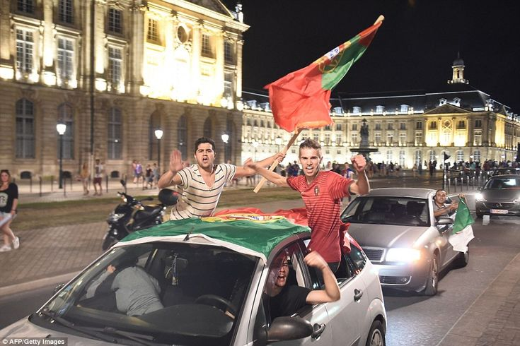 Across France in Bordeaux more Portuguese fans take to their cars to wave flags and honour...