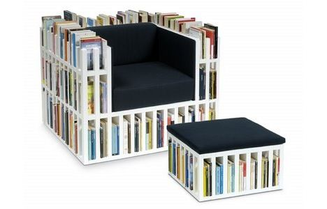 Bibliochaise - Who Needs a Bookshelf? Chair and ottoman that stores up to 300 books. Pretty sweet.