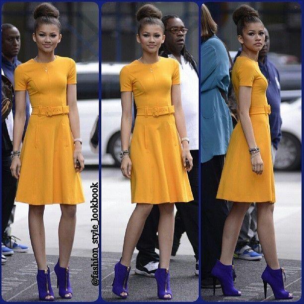 #zendaya #lookbook #style #lookbooknu #stylish #instastyle #fashion #fashionista #instafashion #love #ootd #shoes #hair #outfit #elegant #mustard #sunglasses #heels #miumiu #topshop #mango #zara #hermes #mint #neon #celebrity #hairbun #royalblue #streetstyle #streetfashion... - Celebrity Fashion