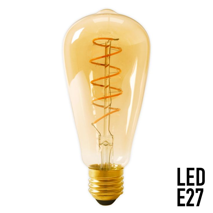 LED gold Rustiek 200LM 4W DIM CURL | Verlichting | 360volt. De grootste collectie oude originele industrielampen. Gespecialiseerd in fabrieks-, emaille en de industriele lampen.