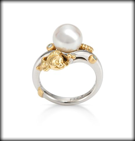 Disney Engagement Ring Little Mermaid With Flounder A Shell And Pearl