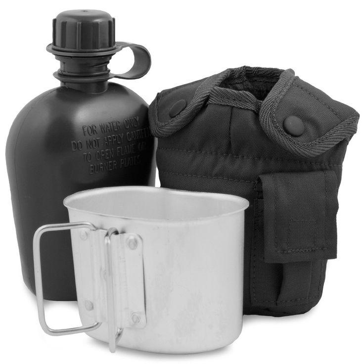 Mil-Tec - Borraccia esercito americano, con bicchiere e custodia, Nero (nero), Taglia unica: Amazon.it: Sport e tempo libero