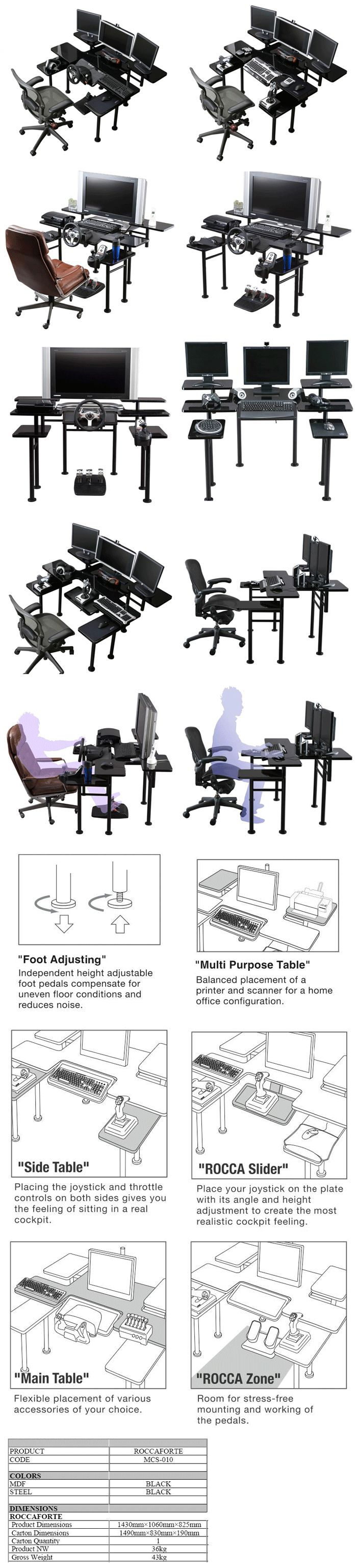 Roccaforte - The Ultimate Gaming Desk. Ride Beyond Your Imagination. So much customizability. That's too crazy but cool. All that space for anything you would possibly want for your computer. If you are a true gamer you will appreciate Roccaforte game desk