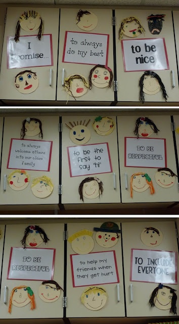 """A classroom """"we promise"""" wall. So darling and helps to create the classroom family bond I've been searching for."""