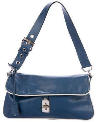 e228123f9680 Blue Nappa leather Prada Turnlock Flap Bag with brushed silver-tone  hardware, $225 at Therealreal #bags #handbags #handle #shoulderbag #bolsa  #style ...