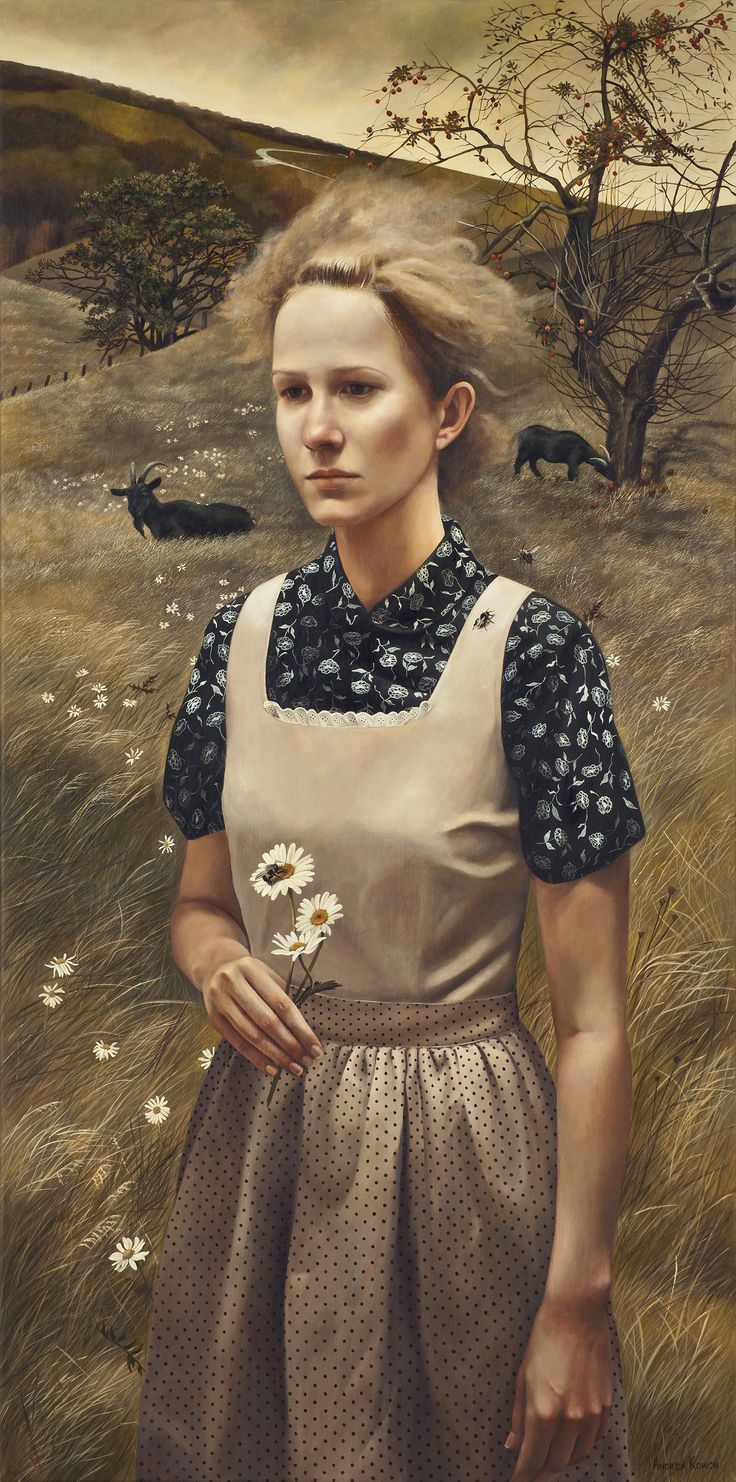 """Rural Sisters"" (series) - Andrea Kowch (b. 1986), acrylic on canvas {contemporary figurative symbolist realism art woman standing in field holding flower painting} andreakowch.com"