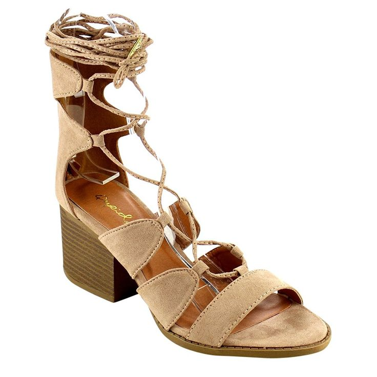 QUPID FC28 Women's Leg Wrap Gladiator Lace Up Stacked Chunky Heel Sandals  *** New