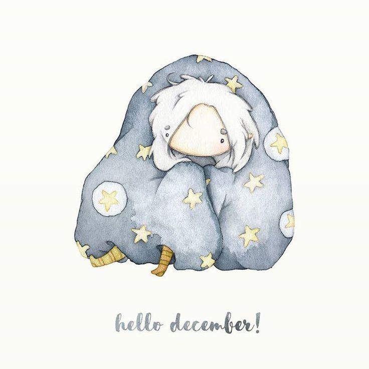 December. Привет, декабрь. Пора волшебства и теплых одеялок ╯▽╰ #littlemeproject #watercolor #illustration #sleepy #december