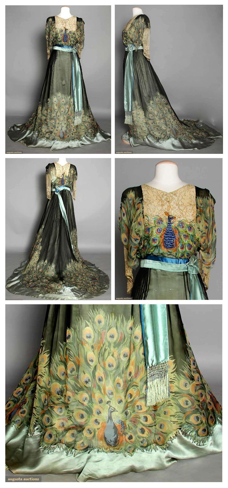 PEACOCK PRINT EVENING GOWN, c. 1910  Peacock tail printed silk chiffon w/ embroidered & beaded peacock on bodice.