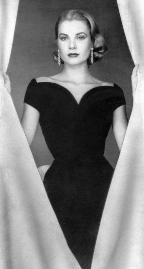 grace kelly in a little black dress black and white. Black Bedroom Furniture Sets. Home Design Ideas