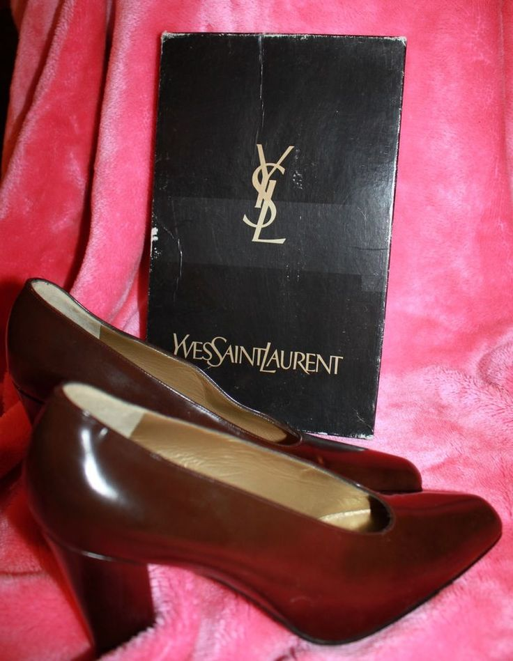NEW in box - leather YVES SAINT LAURENT classic chocolate pumps 9.5 - 4  heel