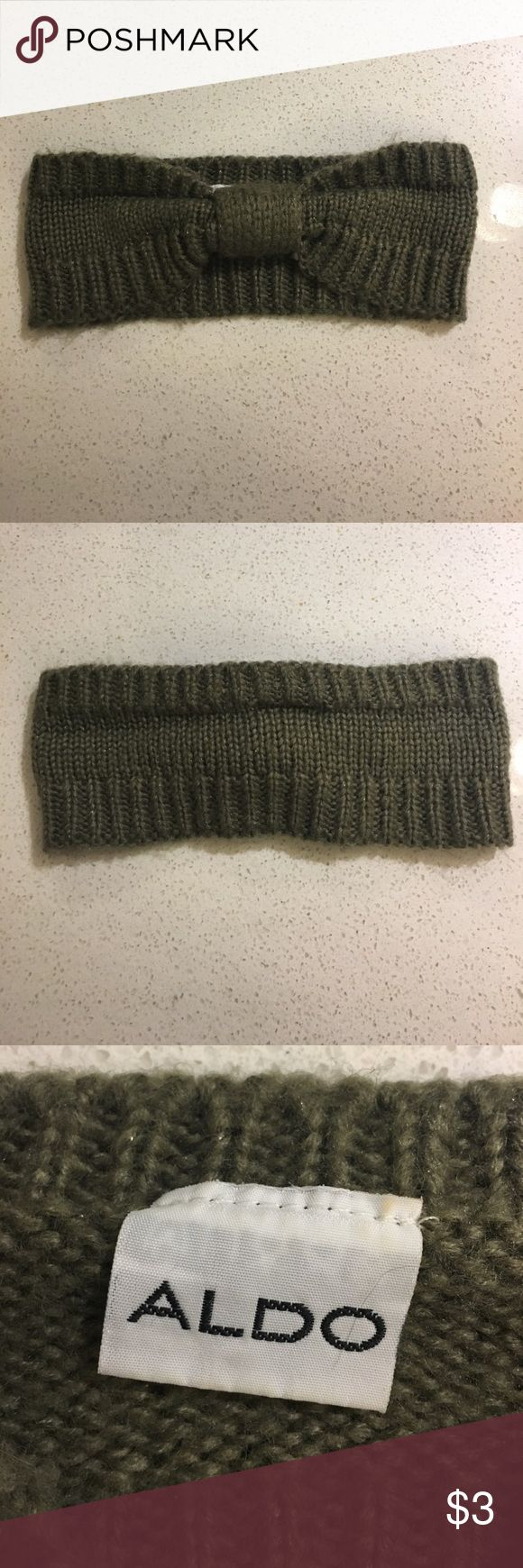 Olive green ALDO winter headband Dark olive color with a little glitter knit headband from ALDO - cute with hair in a pony or down & curled Aldo Accessories Hair Accessories