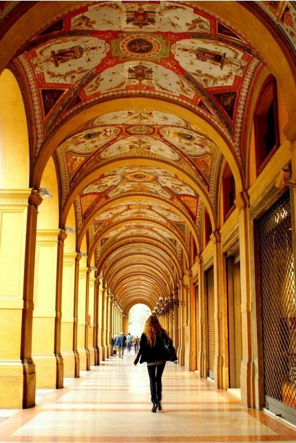 """The 53 kilometres of porticoes have protected the Bolognesi from the elements for over 1000 years; sometimes known as the city's umbrellas locals are happy to walk out in the rain sure in the knowledge that they can arrive at their destination without getting wet"""