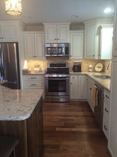 Gray Tile Kitchen Floor Corner Cabinets Off-white Coffee Glazed Cabinets, Walnut Stained Island ...