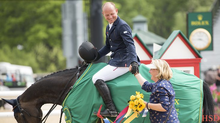 Michael Jung riding FischerRocana and his mom, Brigitte Jung after winning Kentucky 3-Day Event