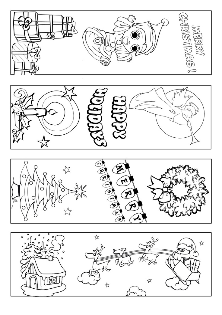 Christmas bookmark coloring page: Marcapáginas con motivos navideños para colorear