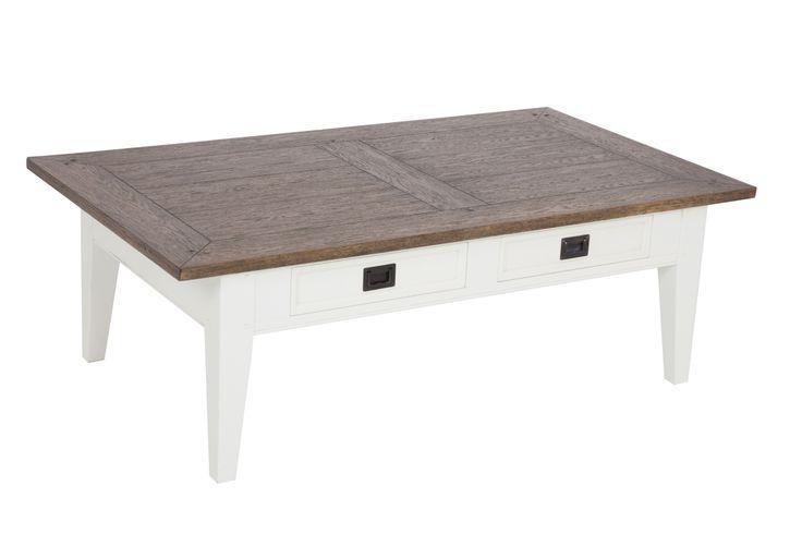 Soffbord från serien Gute. Stilrent vitt vardagsrumsbord med ekskiva och lådor. Storlek: 80x35 cm.