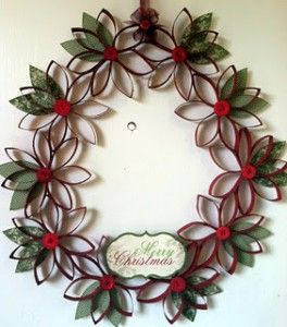 Pinterest Christmas Craft Ideas | Christmas Craft Ideas- Toilet Paper Tube Wreath