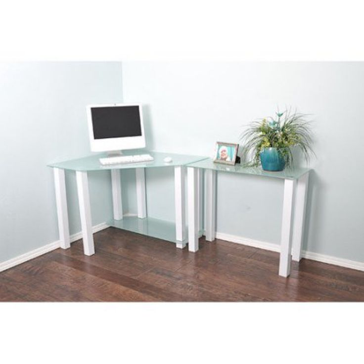 99 Frosted Glass Corner Desk Real Wood Home Office Furniture Check More At