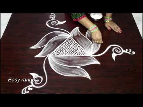 How to draw beautiful bird kolam designs || latest rangoli designs || muggulu designs - YouTube