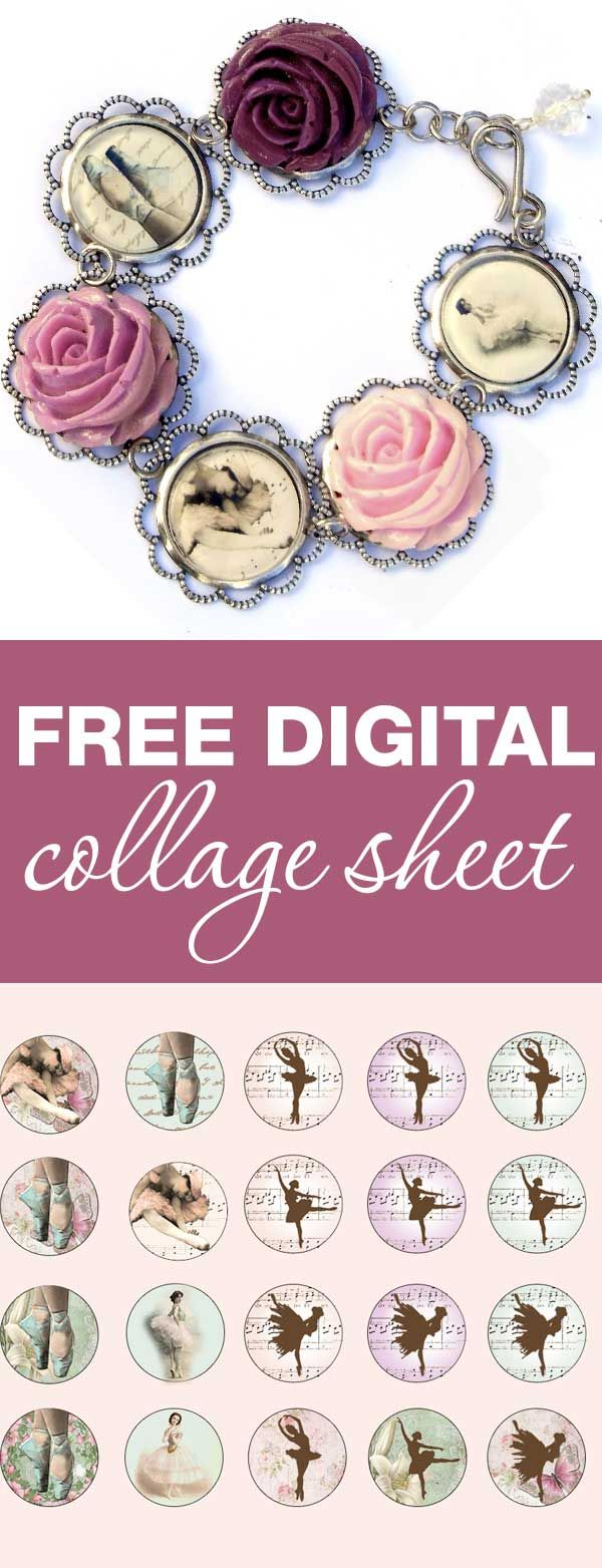 Download, print, create - Vintage Ballerina Digital Collage sheet are free for personal projects and small commerical use | beadingtutorials.com.au