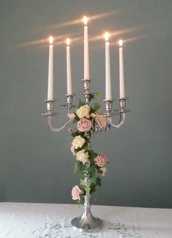 STUNNING SILVER 60cm WEDDING CANDELABRA CENTREPIECES FOR HIRE £17 | eBay