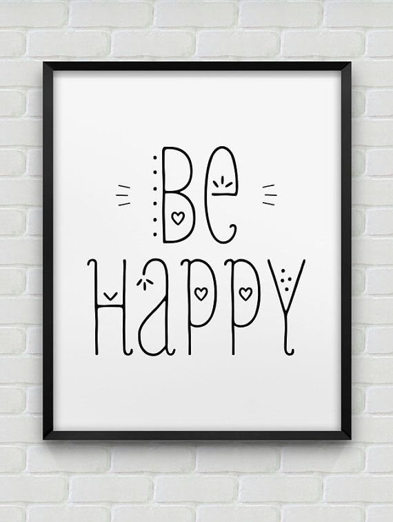 printable 'be happy' inspirational print // instant download print // black and white home decor // typographic wall art // be happy poster
