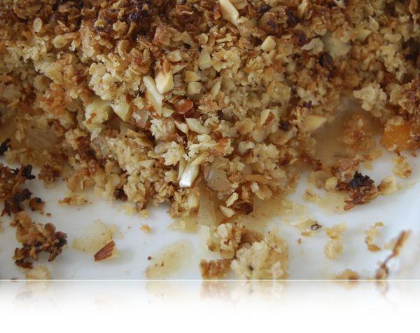 Nydt...en lækker bage-æble-mandel-ting med abrikoser og flødeskum til. Fra Anne