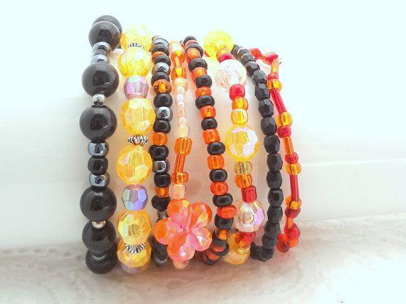 Boho Bracelet Set of 8 - Orange, Black, Purple - beaded stretch bracelets - handmade in New Zealand #10