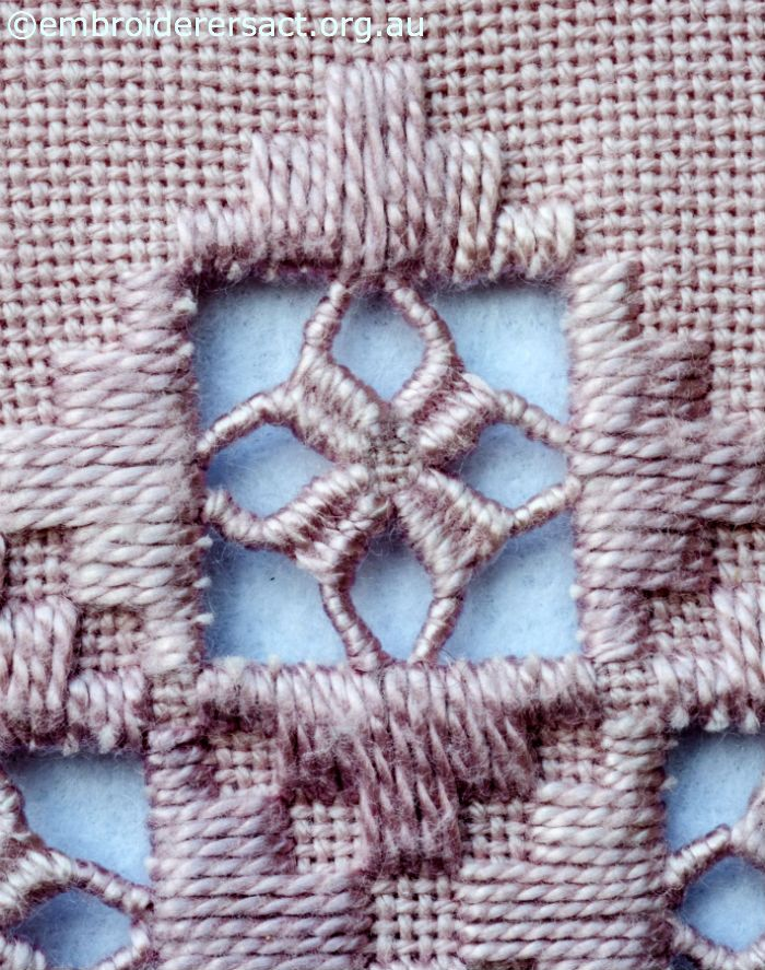 Close up of Hardanger Motif by Marjorie Gilby