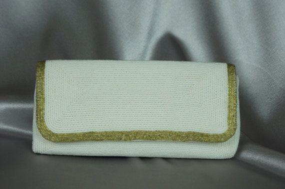 Minze Vintage Tasche, Walborg Tasche, hergestellt in Japan, weiße Perlen Beutel, formale Kupplung, 50er-Handtasche, Gold und weiß-Handtasche, Abendtasche, Vintage Geldbörse.