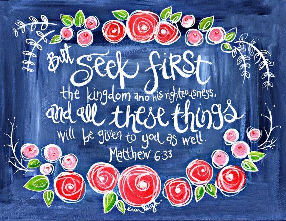 Scripture Wall Art. Bible Verse Art. Christian Art. Matthew 6:33 Seek first the kingdom. Fine Art Print.