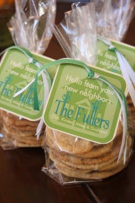 If you have moved and want to get to know your new neighbors...here are some cute tags to put on bags with homemade cookies or some other baked good.