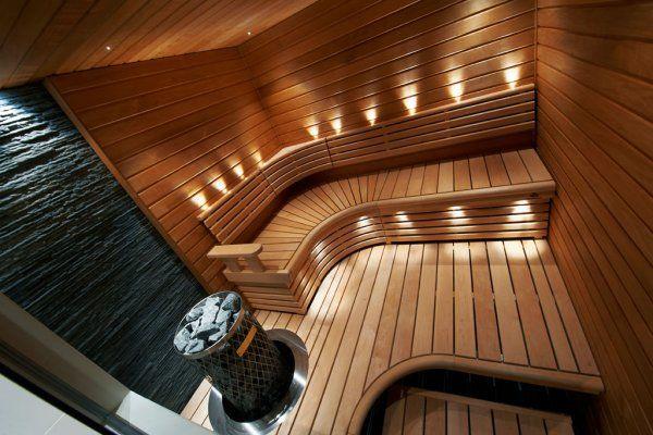 Finnish sauna. L-shape benches.
