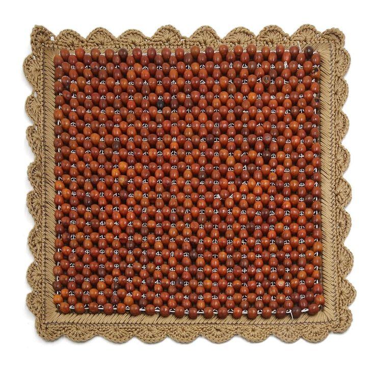 "17.7"" x 17.7"" Square Wood Beads Decor Foldable Car Chair Cushion Seat Pad Brown, Outdoor Cushion"