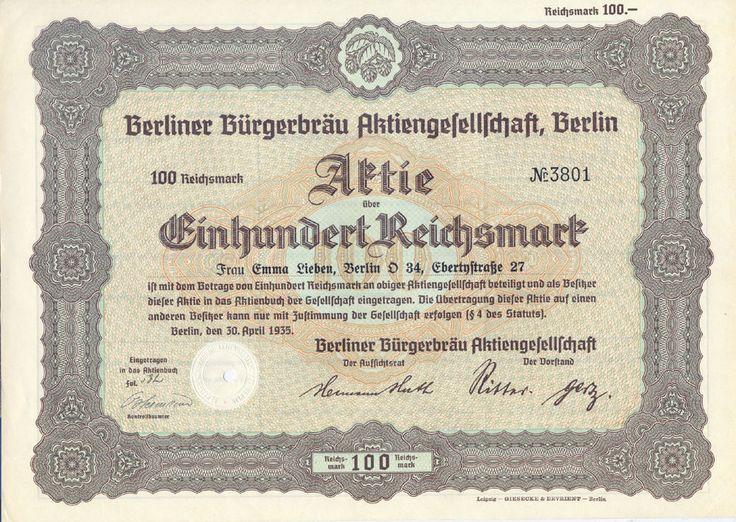 Berliner Bürgerbräu Aktie 100 RM 1935 sehr selten