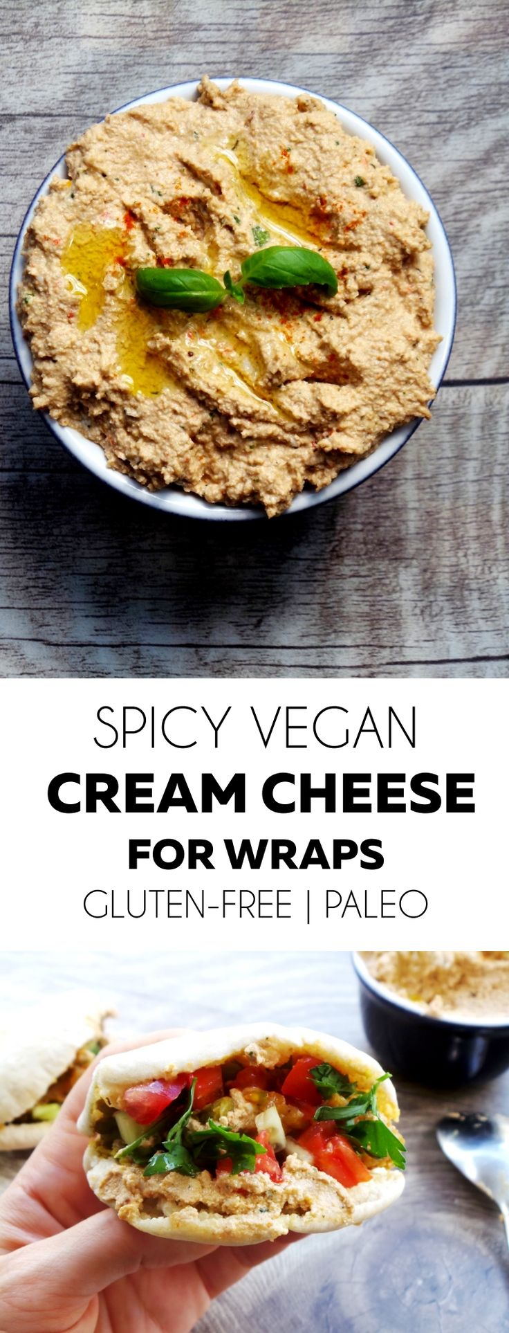 Vegan, paleo and gluten-free spicy cream cheese - perfect for all kinds of wraps or with falafels