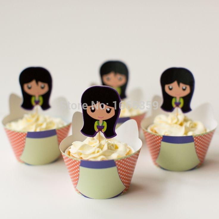 Бесплатная доставка 24 шт. ( 12 обертки + 12 цилиндр ) леди хуа му Lan кекс обертки и ботворезы выбирает украшения дети на день рождения ну вечеринку сувениры