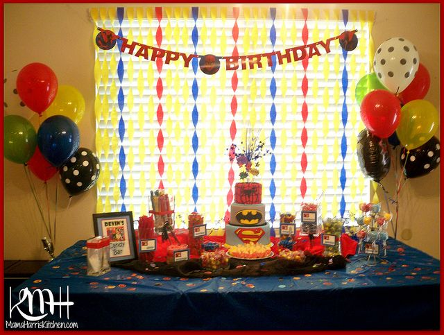 Superhero Birthday Party Candy Buffet Dessert Table