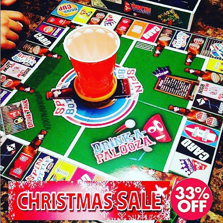 """#ChristmasSale  DRINK-A-PALOOZA is the ultimate drinking board game! The ONLY party game to combine all the """"old school"""" & """"new school"""" drinking games into ONE! If you like Beer Pong Kings Cup Flip Cup Quarters and want to relive your College days then you will love the DRINK-A-PALOOZA drinking game. GET YOUR DRINK ON!  #GetYourDrinkOn  w/ the DRINK-A-PALOOZA #drinkinggame. Play with  w/ your #party.  D-A-P is a combo of #beerpong #flipcup and all the best #drinkinggames... # to #gamenight…"""