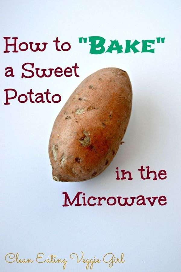 """How to """"Bake"""" a Sweet Potato in the Microwave for healthy lunch! Doing this today for a quick meal. Also good for using sweet potato when following a recipe and you're short on time"""