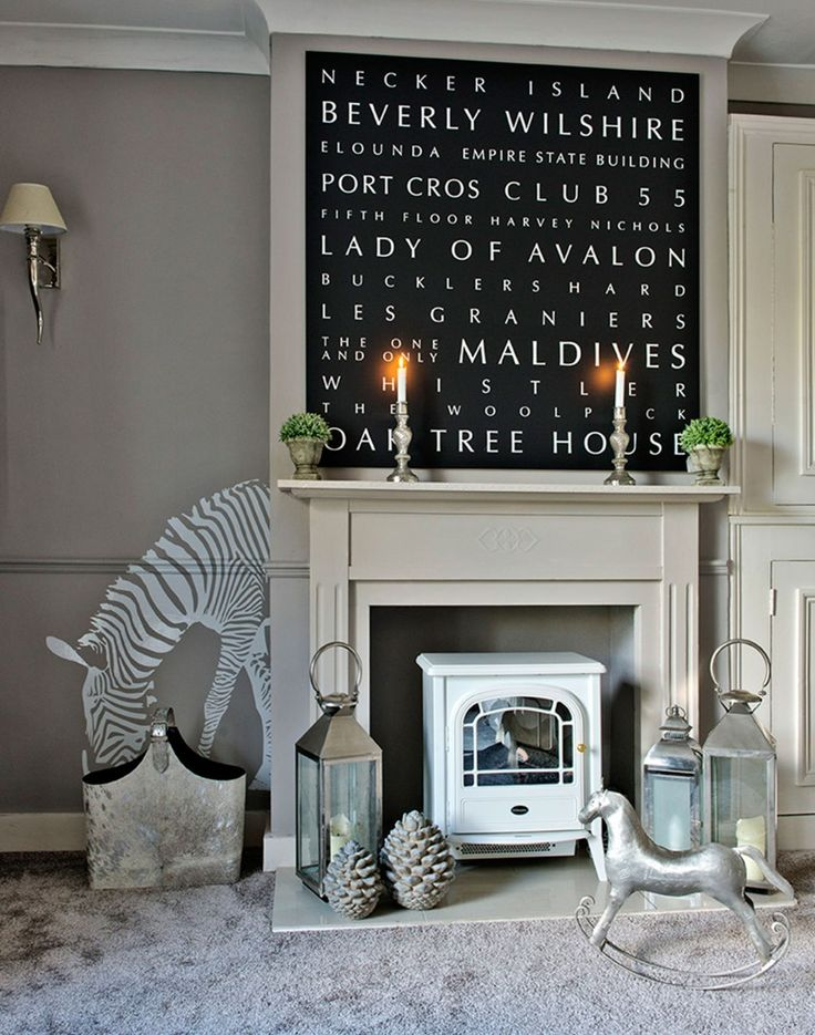 Grey Country Living Room with Zebra Wall Stencil and Letter Art
